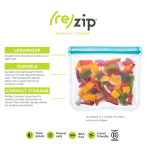 (re)zip Lay-Flat Snack Leakproof Reusable Storage Bag 2-Pack (Aqua) - LaPrima Shops ®