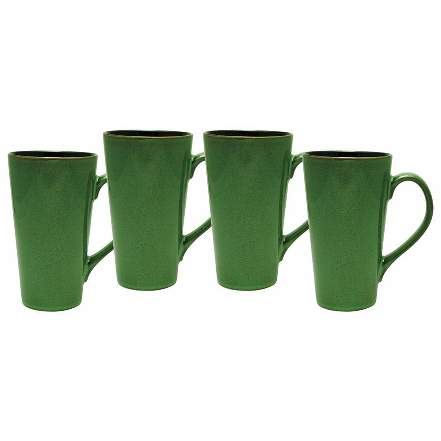 Culver Serenity Cafe Grande Ceramic Mug, 18-Ounce, Willow Green, Set of 4 - LaPrima Shops ®