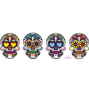 Culver Sugar Skulls Decorated Frosted Deluxe Cooler/Tumbler Glasses, 15-Ounce, Set of 4 - LaPrima Shops ®