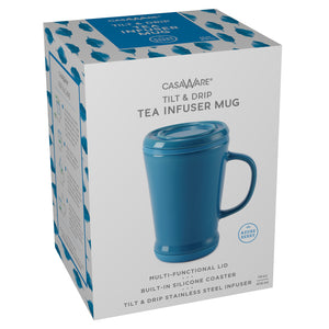 casaWare Tilt and Drip Tea Infuser Ceramic Mug, 14-Ounce (Azure Berry) - LaPrima Shops ®