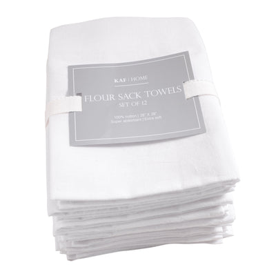 KAF Home Set of 12 Flour Sack White Kitchen Towels, 100-Percent Cotton,  Absorbent, Extra Soft (28 x 28-Inches)
