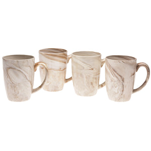 Culver 16-Ounce Palermo Ceramic Mug Set of 4 (Brown Marble) - LaPrima Shops ®