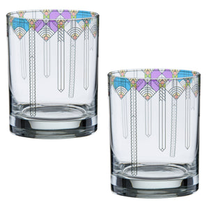 Frank Lloyd Wright April Showers DOF Double Old Fashioned Glass 14-Ounce Set of 2 - LaPrima Shops ®