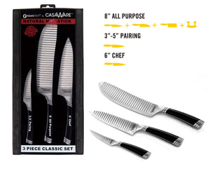 casaWare 3-piece Classic Cutlery Set - 6-inch Chef, 3.5-inch Paring and 8-inch All Purpose - LaPrima Shops ®