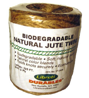 Librett Biodegradable Natural Jute Twine, 225 FT - 8oz - 3 Ply