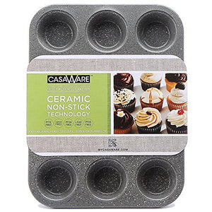 casaWare Ceramic Coated NonStick 12 Cup Muffin Pan (Silver Granite) - LaPrima Shops ®