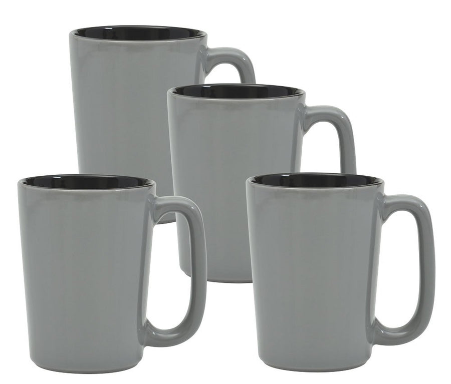 Culver SLAT Mug, 16-Ounce, Grey Black, Set of 4 - LaPrima Shops ®