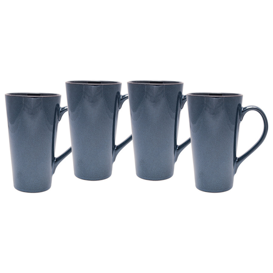 Culver Serenity Cafe Grande Ceramic Mug, 16-Ounce, Blue, Set of 4 - LaPrima Shops ®