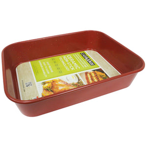 casaWare Ceramic Coated NonStick Lasagna/Roaster Pan 13 x 10 x 3-Inch (Red Granite) - LaPrima Shops ®