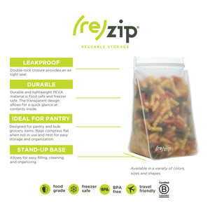 (re)zip Tall Clear Leakproof Reusable Storage Bag (4-Cup/32-ounce) - LaPrima Shops ®