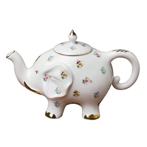 Grace Teaware Fine Porcelain Happy Elephant 28-Ounce Teapot (Floral Pansy) with Gold Trim - LaPrima Shops ®