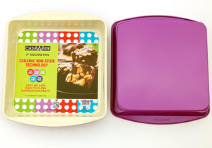 casaWare Ceramic Coated NonStick 9-Inch Square Pan (Cream/Purple) - LaPrima Shops ®