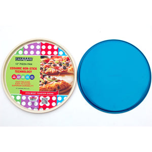 casaWare Ceramic Coated Non-Stick 12-Inch Pizza Pan (Cream/Blue) - LaPrima Shops ®