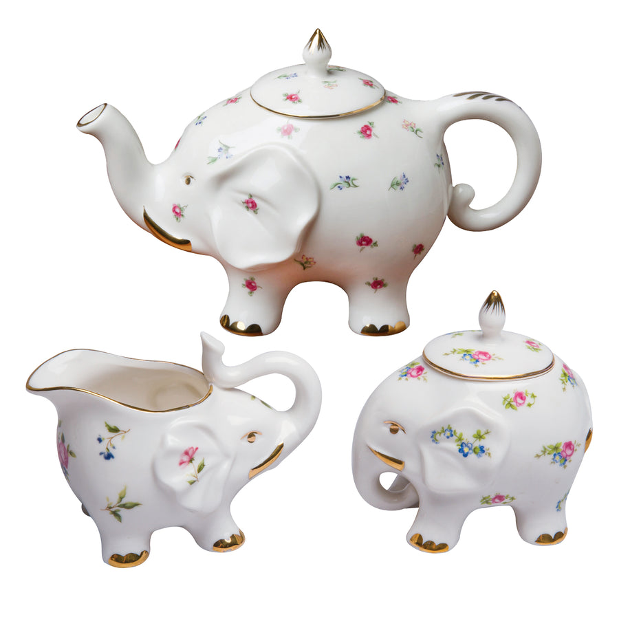 Grace Teaware Fine Porcelain Happy Elephant (3-Piece Tea Set, Petite Floral Spray) with Gold Trim - LaPrima Shops ®