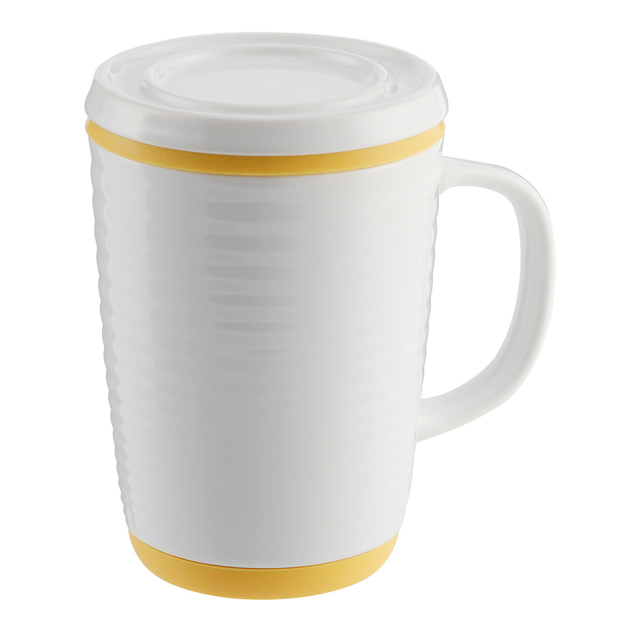 Casaware 16-Ounce Tilt & Drip Ripple Tea Infuser Mugs (White / Yellow) - LaPrima Shops ®