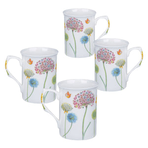 Gracie Bone China Mug Set of 4 (10-Ounce, Snowball Floral) - LaPrima Shops ®