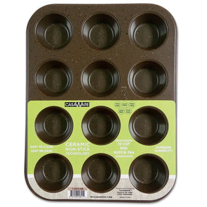 CasaWare Mini Muffin Pan 12 Cup Ceramic Coated Non-Stick (Brown Granite) - LaPrima Shops ®