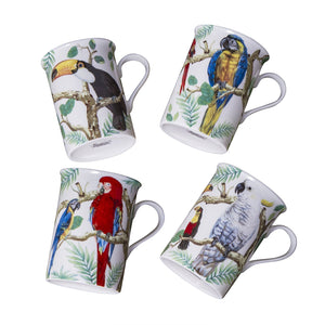 Gracie Bone China Mug Set of 4 (9-Ounce, Parrots) - LaPrima Shops ®
