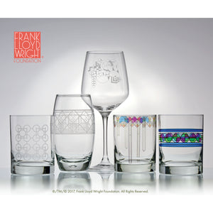 Frank Lloyd Wright April Showers DOF Double Old Fashioned Glass 14-Ounce Set of 4 - LaPrima Shops ®