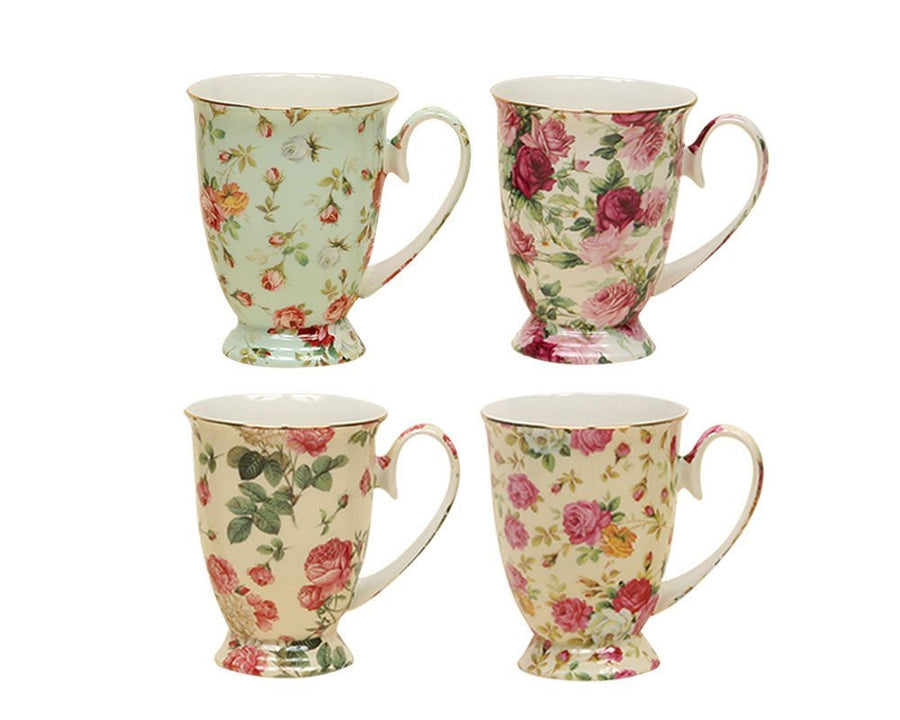 Gracie China Rose Chintz Porcelain Pedestal Mugs 9-Ounce Set of 4 Assorted with Gold Trim - LaPrima Shops ®