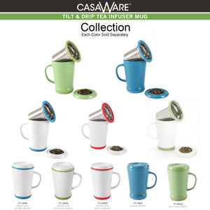 casaWare Tilt and Drip Tea Infuser Ceramic Mug, 14-Ounce (Matcha Green) - LaPrima Shops ®