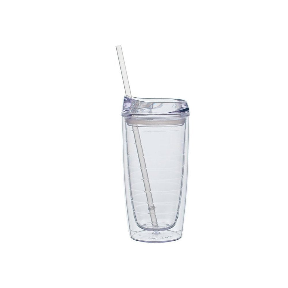 Culver Cool Cup Double Walled Insulated Tall Tumbler with Lid and Stra