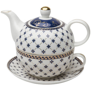 Grace Teaware Porcelain 4-Piece Tea For One (Trellis Blue Gold Trimmed) - LaPrima Shops ®