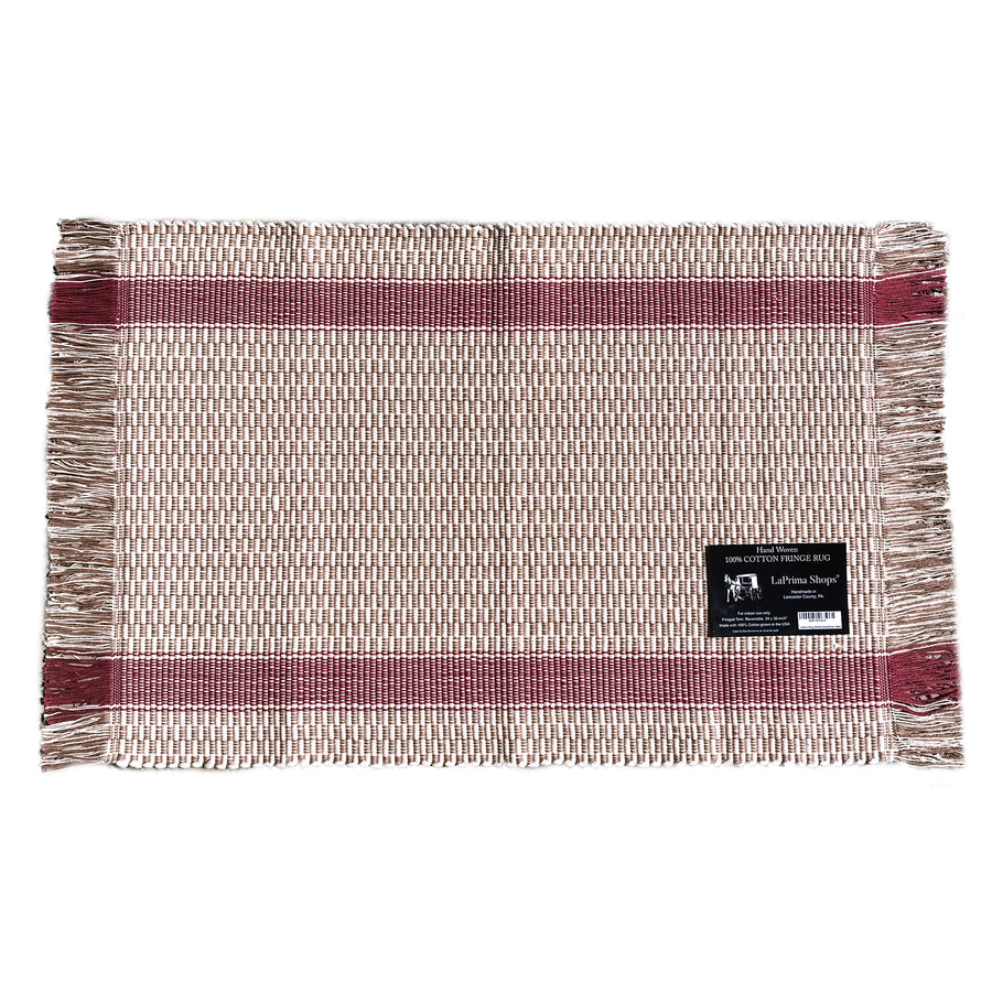 Hand Woven 100-Percent Cotton Fringe Area Rug 24x36-Inches (Dusty Rose) - LaPrima Shops ®