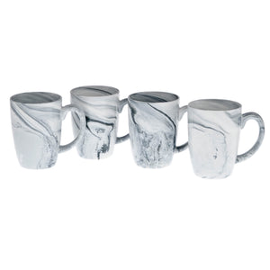 Culver 16-Ounce Palermo Ceramic Mug Set of 4 (Black Marble) - LaPrima Shops ®