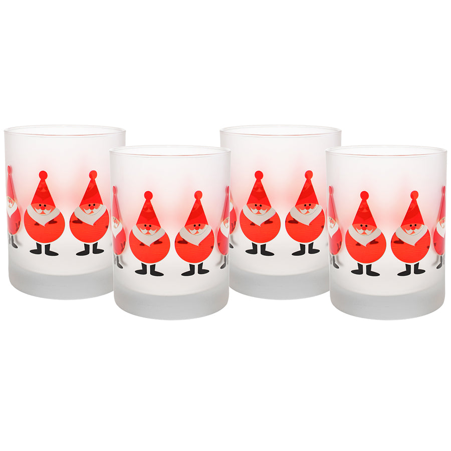Culver Santa Claus Elves DOF Double Old Fashion Festive Glass (Set of 4), 14 oz, Red - LaPrima Shops ®