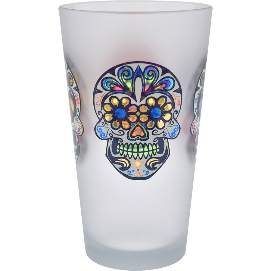 Culver Sugar Skulls Decorated Frosted Pint / Pub Glasses, 16-Ounce, Set of 4 - LaPrima Shops ®