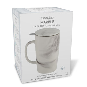 Casaware 16-Ounce Tilt & Drip Marble Tea Infuser Mugs (Earth Black) - LaPrima Shops ®