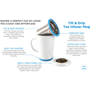 casaWare Tilt and Drip Tea Infuser Ceramic Mug, 14-Ounce (White with Azure Berry) - LaPrima Shops ®