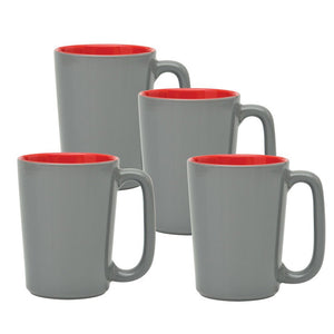 Culver SLAT Mug, 16-Ounce, Grey Red, Set of 4 - LaPrima Shops ®