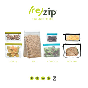 (re)zip Zippered Medium Reusable Storage Bags (8.5 x 7-inch) 2-Pack Black - LaPrima Shops ®