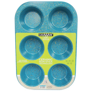 casaWare Toaster Oven 6 Cup Muffin Pan NonStick Ceramic Coated (Blue Granite) - LaPrima Shops ®