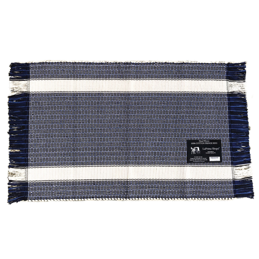 Hand Woven 100-Percent Cotton Fringe Area Rug 24x36-Inches (Blue Black/White Stripe) - LaPrima Shops ®