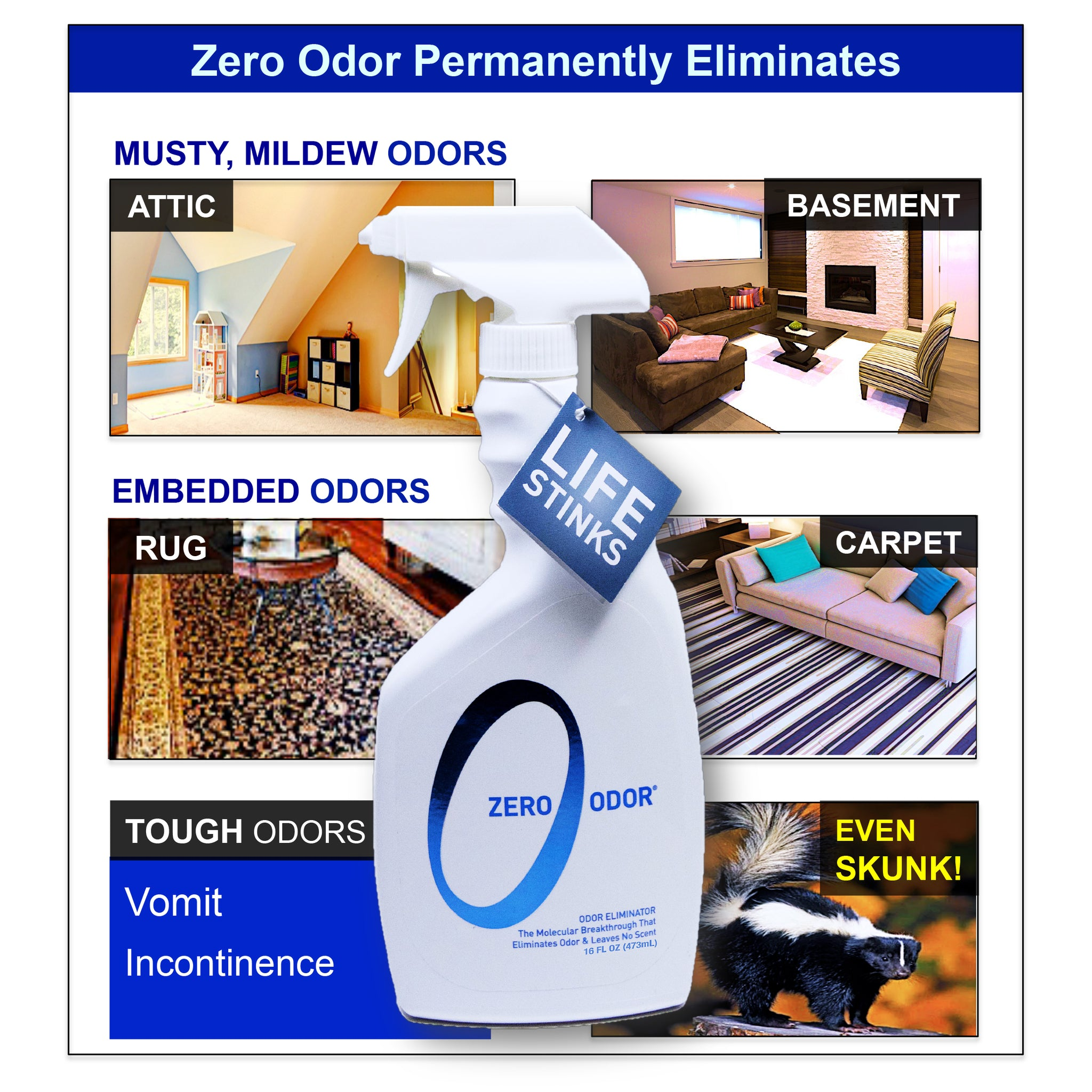 Zero Odor Multi-Purpose Household Odor Eliminator, Trigger