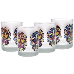 Culver Sugar Skulls Decorated Frosted Double Old Fashioned Glasses, 14-Ounce, Set of 4 - LaPrima Shops ®
