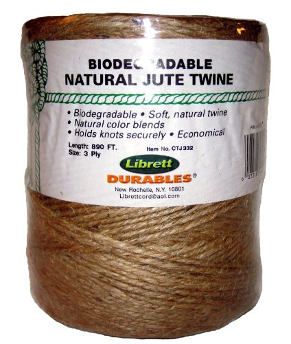 Librett Biodegradable Natural Jute Twine, 890 FT - 32oz - 3 Ply