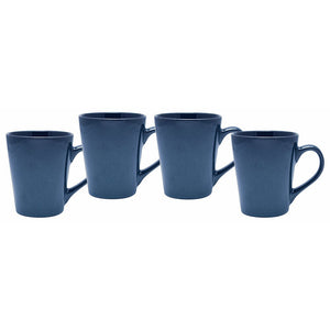 Culver Serenity Cafe Ceramic Mug, 12-Ounce, Blue, Set of 4 - LaPrima Shops ®