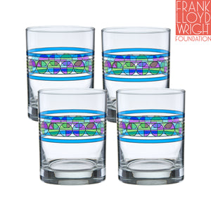 Frank Lloyd Wright Saguaro Flower DOF Double Old Fashioned Glass 14-Ounce Set of 4 - LaPrima Shops ®