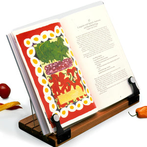 Deluxe Original Cookbook Holder - Acrylic Shield With Wooden Base and Black Hinges - Made in the USA - LaPrima Shops ®
