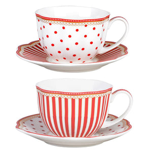 Grace Teaware Red Dot Stripes Scallop 9-Ounce Porcelain Tea/Coffee Cup and Saucer, Set of 2 - LaPrima Shops ®