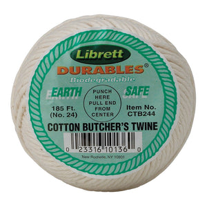 Librett Durables Butchers Twine, Cotton, 185-Feet White