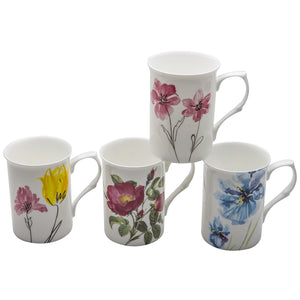 Gracie Bone China Mug Set of 4 (9-Ounce, Watercolors) - LaPrima Shops ®