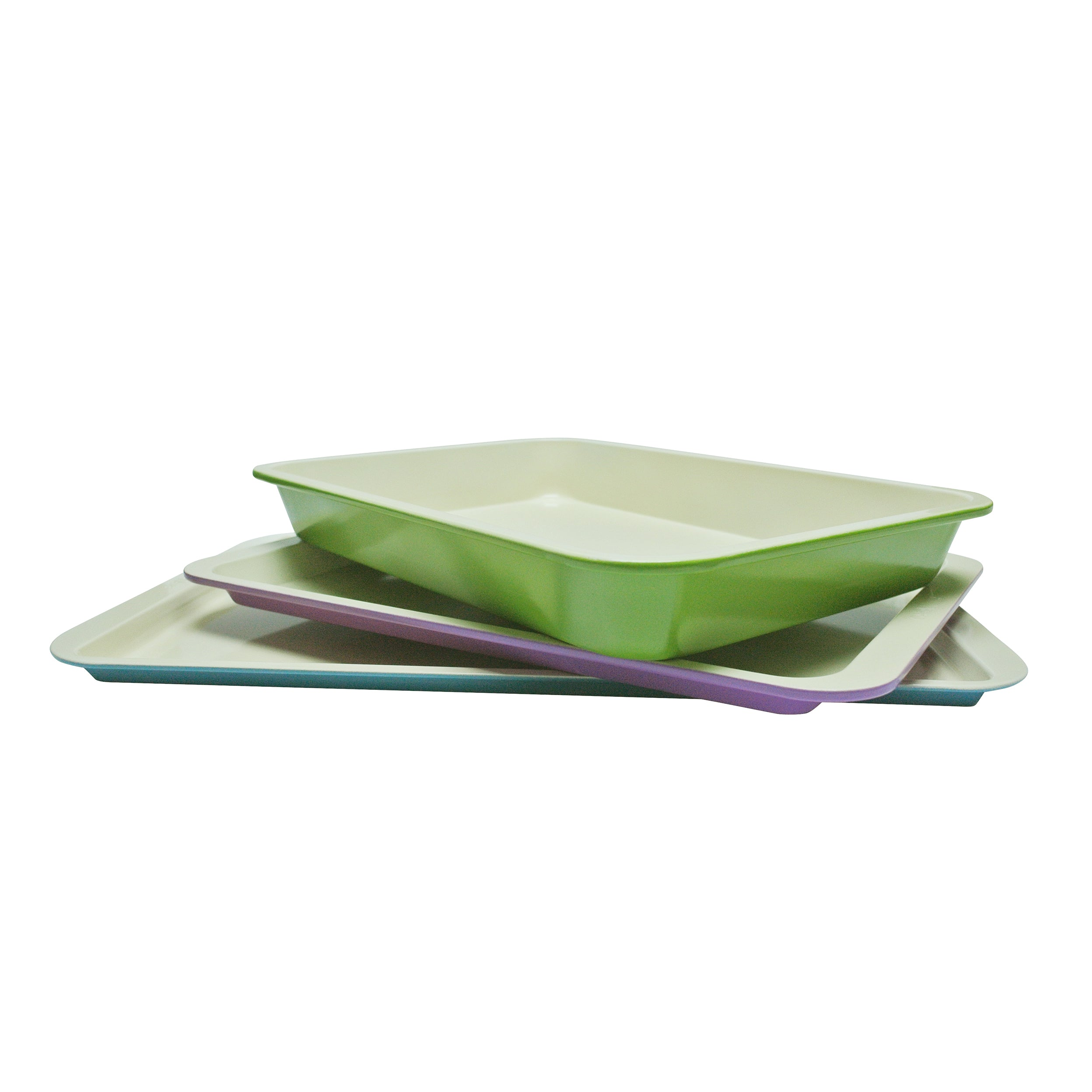 casaWare 3pc Ceramic Coated Multi-Color and Size Baking ...