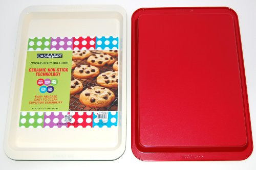 casaWare Ceramic Coated NonStick Cookie/Jelly Roll Pan (9 X 12.5-Inch, Cream/Red) - LaPrima Shops ®