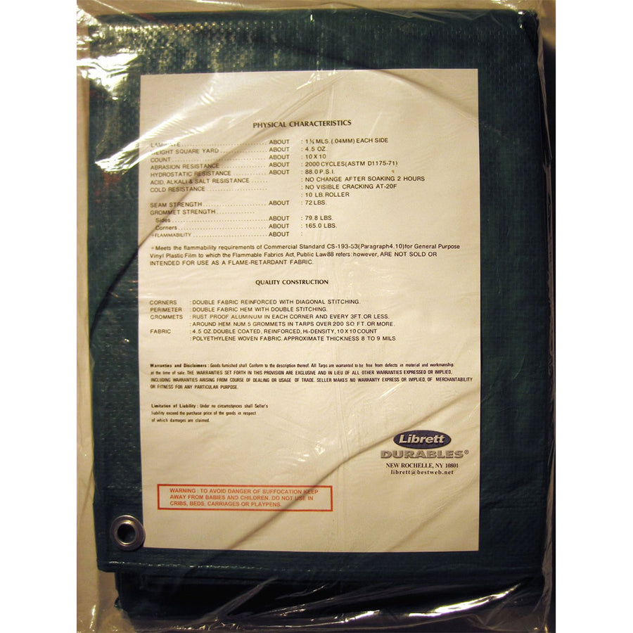 Librett 9' x 12' Green Tarp - Extra Heavy, Multi-Purpose