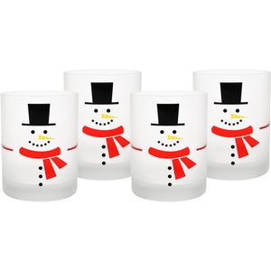 Culver Snowman DOF Double Old Fashion Festive Glass (Set of 4), 14 oz, White - LaPrima Shops ®